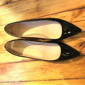 Jcrew Patent Leather Black Pointed Toe Flats